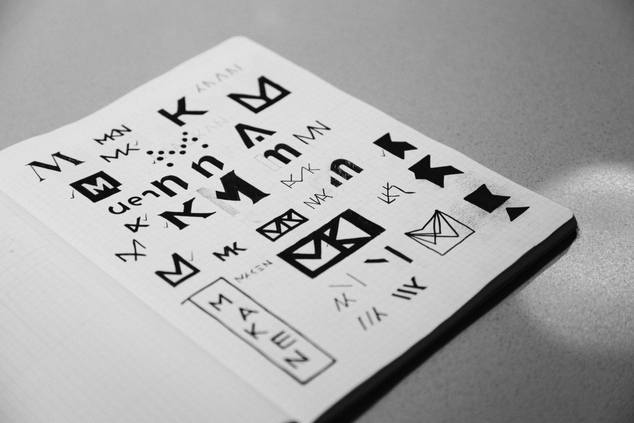 Grid paper sketches from Tim Kamerer's (designer) notebook